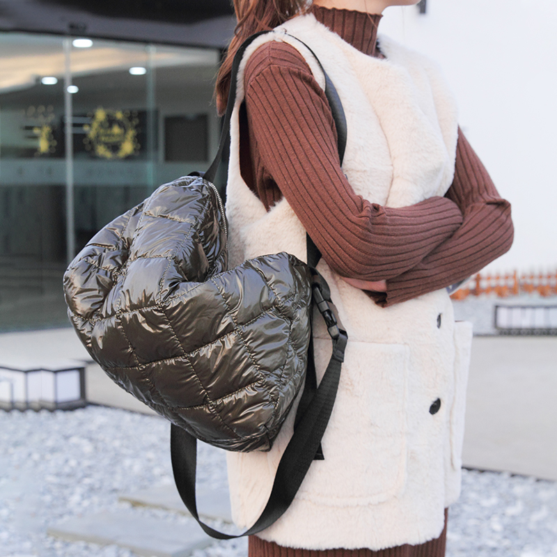 Women Cotton Feather Down Bag Fashion Crossbody Messenger Bag Handbag Space Pad Winter Soft Space Cotton Shoulder Tote Bag