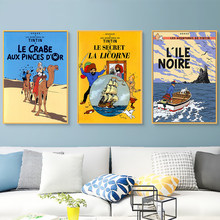 Camel Desert Tintin Adventure Comics Cartoon Retro Vintage Classic Poster Canvas Painting Art Wall Sticker Bar Home Decor Gift(China)