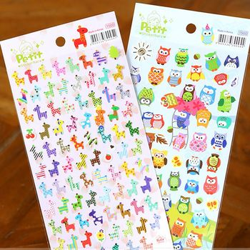 1 sheet Children Cute Owl Giraffe Reward Stickers School Teacher Merit Praise Sticky Class Paper Lable Kids Toy Stationery Sets image