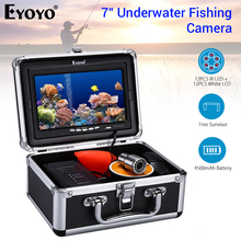 Eyoyo WF07 Double Lamp 24 LEDs 7 Inch 15M 30M 50M 1000TVL Fish Finder Underwater Fishing Camera 12pcs White + IR LED