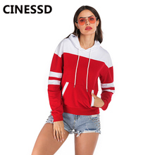CINESSD Women Patchwork Hooded Sweatshirts Drawstring Long Sleeve Pullover Casual Loose Autumn Winter Pocket Hoodies