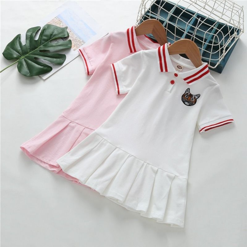 New Girls Preppy Dress 2021 Summer Baby Short Sleeved Princess Dresses Kids Polo Dress for Girls Clothing