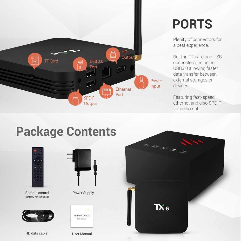 Tv box tx6 android 9.0 4gb de ram, 64gb 5.8g, wi-fi, allwinner h6, quad-core, usd3.0, bt4.2 4k google player youtube tanix set top box tx6