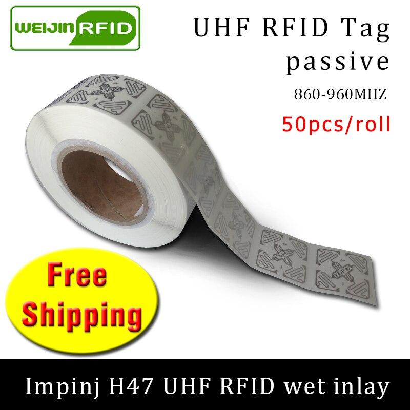 RFID Tag UHF Sticker Impinj H47 Wet Inlay 915mhz868mhz 860-960MHZ  EPC 6C 50pcs Free Shipping Adhesive Passive RFID Label