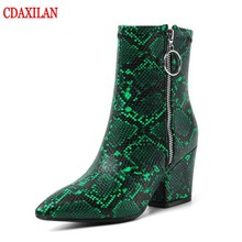 CDAXILAN new arrived womens short boots snake PU leather high-heel pointed toe side zipper ankle sexy martin witner