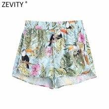 Zevity-pantalones Cortos con estampado Floral para mujer, Shorts elegantes con cintura elástica, informales, ajustados, P1111, verano, 2021