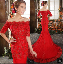 2020 New arrival red lace appliques mermaid wedding dresses beaded off the shoulder half sleeve elegant bridal gowns hot sale(China)
