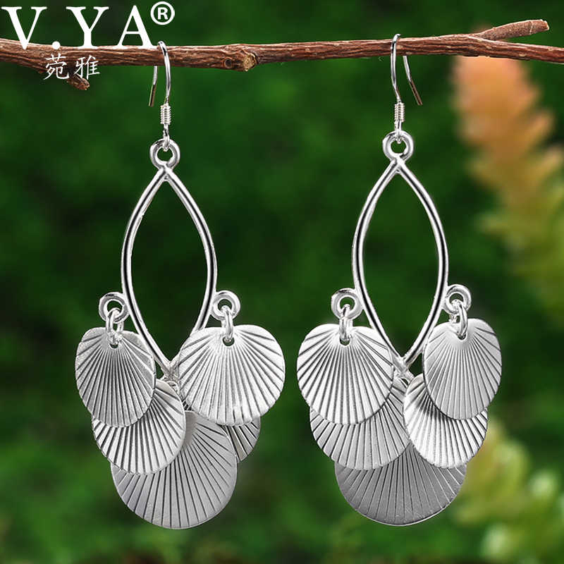 V.YA 2019 S990 Ethnic Round Tassel Earrings For Women  Fashion Silver Color Vintage Ladies Dangle Earrings Oorbellen