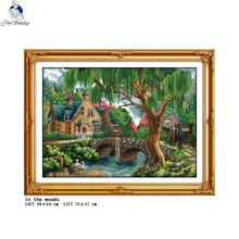 In the woods counted and stamped cross stitch kit 14ct11ct printed fabric embroidery set DIY needlework home decoration painting