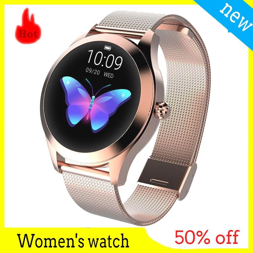KW10 montre pour femme Bracelet intelligent physiologique IP68 étanche mode sport bande conception spéciale pour dame femmes montres intelligentes