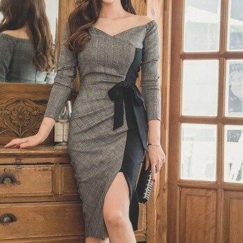 Cross border women's dress 2020 celebrity temperament sexy V-Neck long sleeve dress medium length slim split hip skirt
