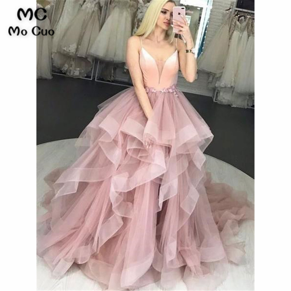 Two Pieces Gown Ball Prom Dresses Long With Crystals Beaded Spaghetti Straps Ruffles Evening Dress Formal Long Women Prom Gown