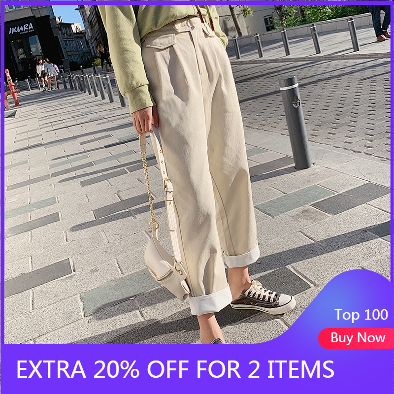 MISHOW 2019 Autumn Fashion Causal Long Trousers Women High Waist Front Pleated Straight Zipper Pants MX19C2102