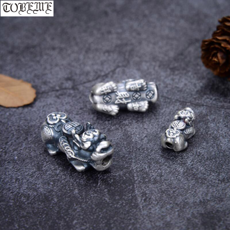 100% 3D 999 Silver Lucky Pixiu Beads Vintage Silver Fengshui Piyao Beads Good Luck  Pixiu Beads DIY Bracelet