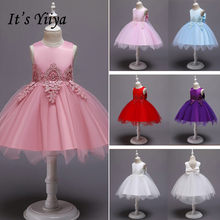 It's YiiYa Flower Girl Dress 2019 Flowers O-neck Christmas Ball Gowns Elegant Big Bow First Communion Dresses For Girls 183(China)