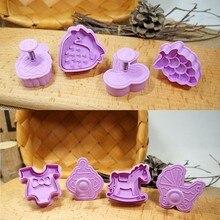 4 шт. формочка для печенья Форма для выпечки для печенья плунжерный резак 3D стерео толчок весенние стили рождественское печенье помадка кухонные принадлежности для выпечки