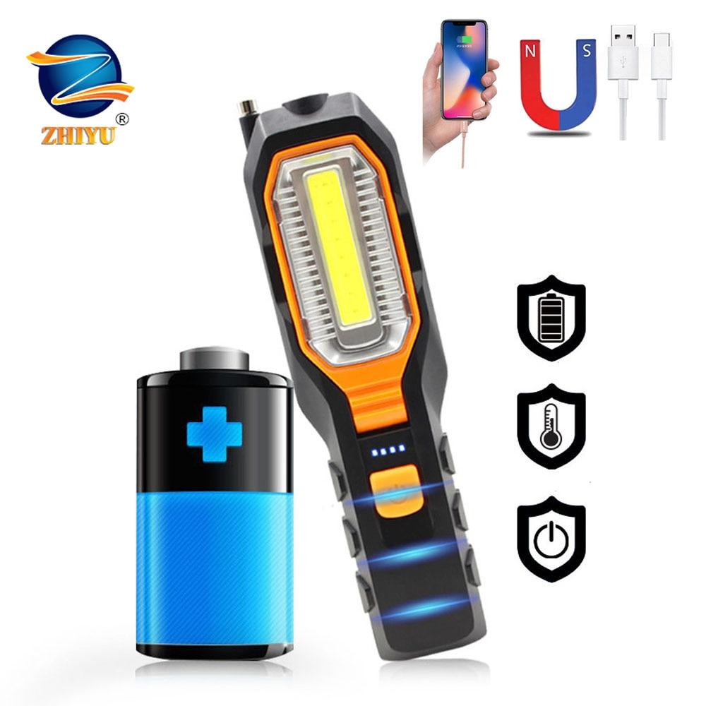 Многофункциональные рабочие фонари COB с зарядкой от USB, осветительные приборы для технического обслуживания автомобиля, фонари для кемпинг...