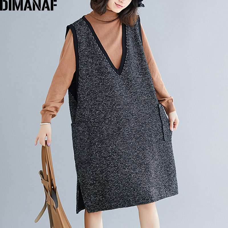 DIMANAF Plus Size Women Dress Winter Sleeveless Knitting Thicken Casual Big Size Female Lady Vestidos Vintage Loose V-Neck Dress