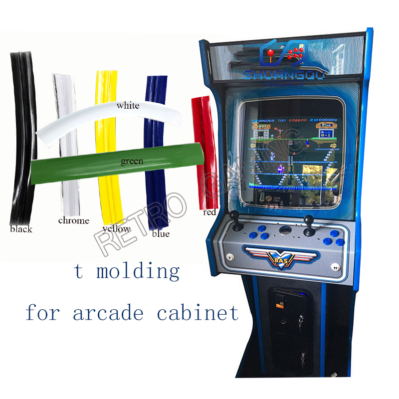 16mm /19mm Width Arcade T Molding 32.8ft 10m Length Chrome/ Black/ Yellow Plastic Edge Protection For Mame Game Machine Cabinet