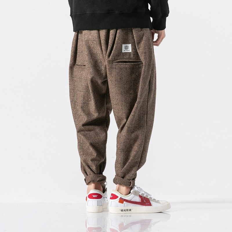 Chinese Style Thick Wool Pants Men Japanese Streetwear Plaid Harem Pants Men Trousers Hip Hop Joggers Men Pants 2019 New SA-8