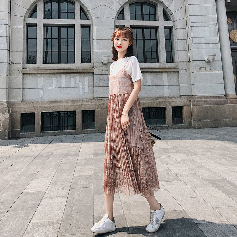 Customizable [dowisi] Dongdaemun 2018 Summer New Style Short Sleeve T-shirt + Lace Strapped Dress Set F6414