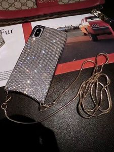 Image 3 - Custodia a tracolla con diamanti scintillanti scintillanti di lusso per iPhone 12 11 PRO XS MAX XR 8 plus Samsung S10 plus con catena lunga