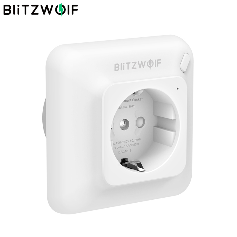 BlitzWolf BW-SHP8 3680W 16A Smart WIFI Wireless Wall Outlet Socket Timer Control Power Monitor work with Alexa Google Assistant
