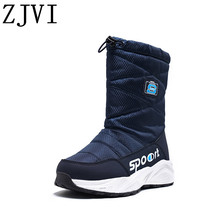 ZJVI women black blue down Cotton winter mid calf snow boots flat platform woman ladies warm fur shoes for girls flats 2019 new