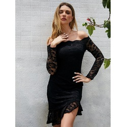 Новинка 2019 года; сезон осень-зима; элегантное платье для светской львицы; облегающее кружевное платье с длинными рукавами; Лидер продаж; Amazon
