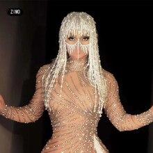 Designer Silver Sequin Crystal Tassel Wigs Women Birthday Party Rhinestone Fringes Headwear gogo Stage Dancer Singer Accessories