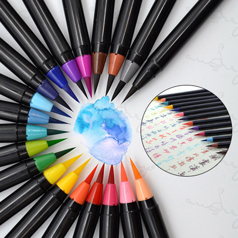 Soft Head Watercolor Paint Brushes Colored Calligraphy  Painting Art Markers Pen For Drawing Sketching Manga Comic Art Supplies