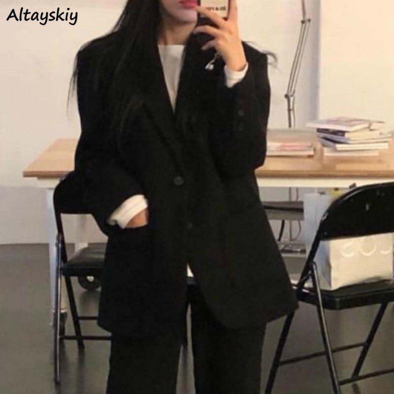 Blazers Women Spring Newest Minimalist Fashion Solid Loose Tops Blazer Korean Style Streetwear Single Breasted Casual Lady Coats