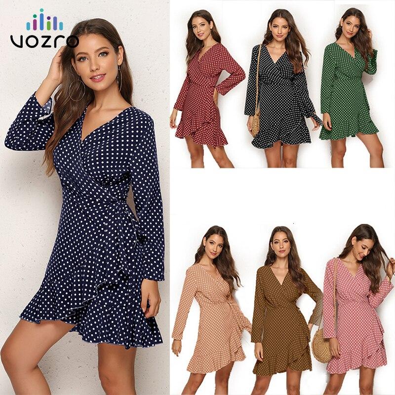 VOZRO 2019 Sexy Wave Point Lotus Leaf Edge Irregular Autumn Clothing Long Party Lace Dress Women Vestido Dresses Befree Vintage