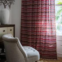 Vermelho geométrico cortina para sala de estar cortinas quarto janela da baía francês cozinha algodão linho terminou cortina com lac