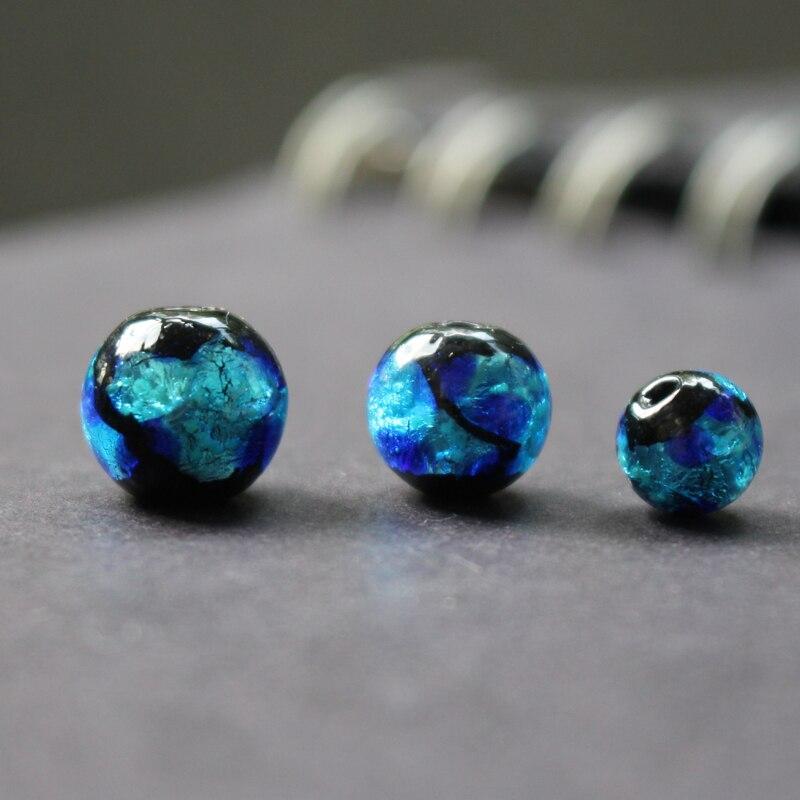 Стеклянные светящиеся бусины ручной работы, лампворк, светло-голубая Фольга для изготовления ювелирных изделий, браслетов, ожерелий, серег,...