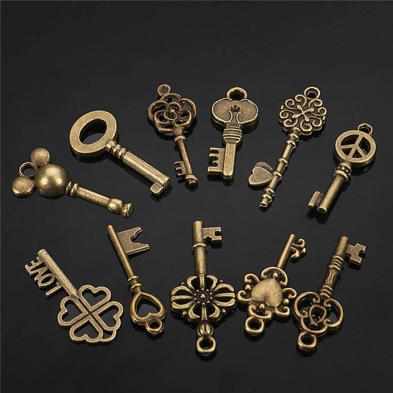 Bronze Skeleton Key Pendant