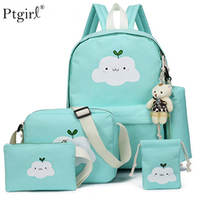 купить 2019 New Fashion Nylon Backpack Schoolbags For Girl Teenagers Ptgirl Children Travel Bags Cute Cloud Printing mochilas escolar дешево