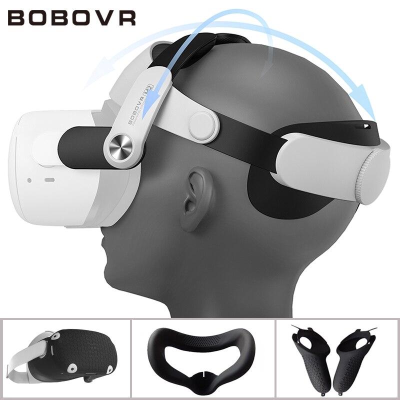 BOBOVR M2 Strap Für Oculus Quest 2 Halo Strap Schutzhülle Weiche Silikon Griff Grip Abdeckung Set Für Oculus Quest2 zubehör