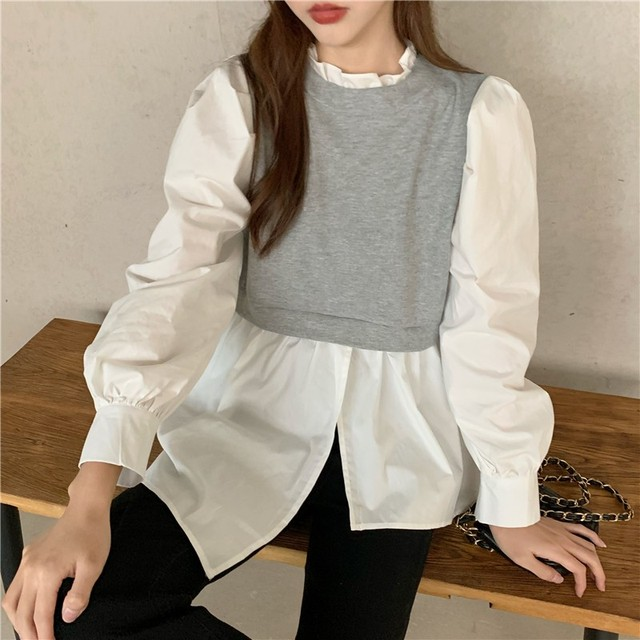 Spring Patchwork Fake Two Piece Shirts Women Autumn Irregular Puff Sleeve Causal Tops Vintage Sexy Stand Collar Blouse Femme 3