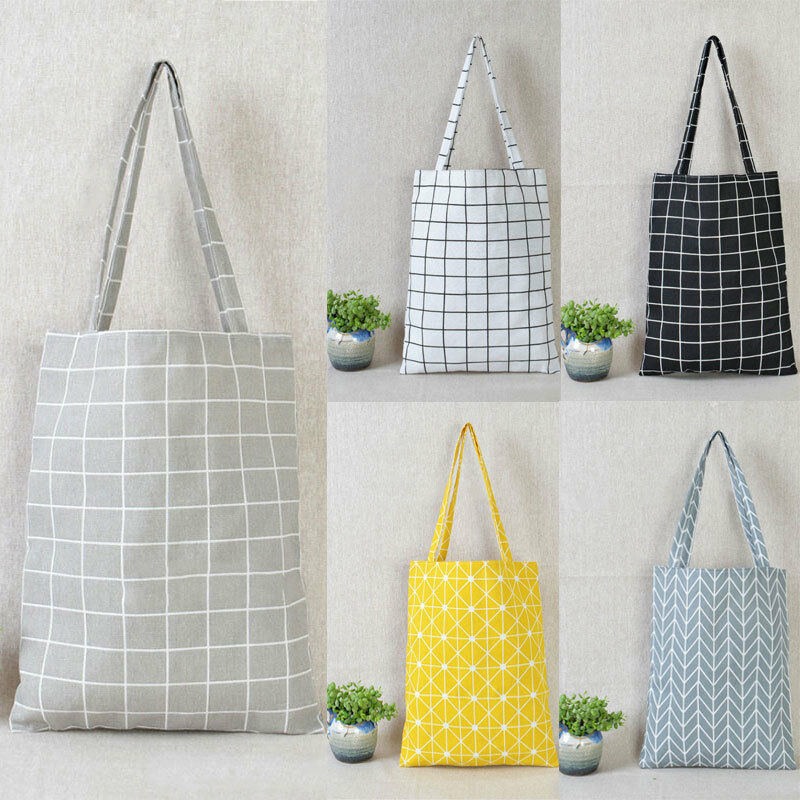 Stylish Wholesale Bags Women Cotton Linen Eco Reusable Shopping Tote Handbag Fashion Plaid Shoulder Bag Shopping Students Bag