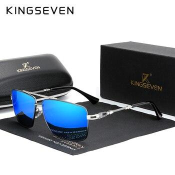 Мужские солнцезащитные очки с дужками из нержавеющей стали KINGSEVEN