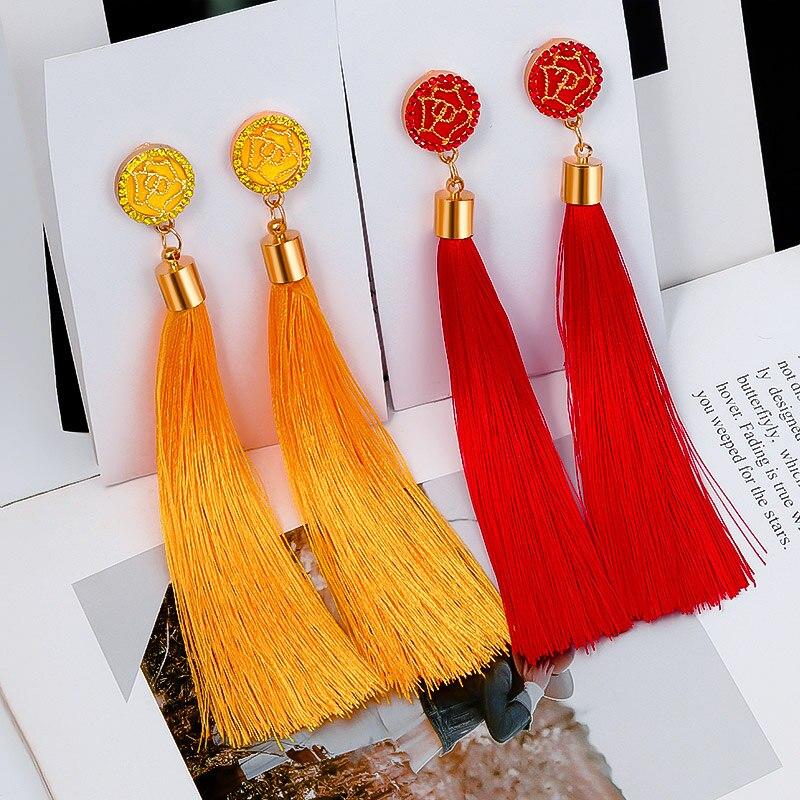 BICUX New Fashion Bohemian Tassel Crystal Long Earrings White Red Silk Fabric Drop Dangle Tassel Earrings For Women 2020 Jewelry