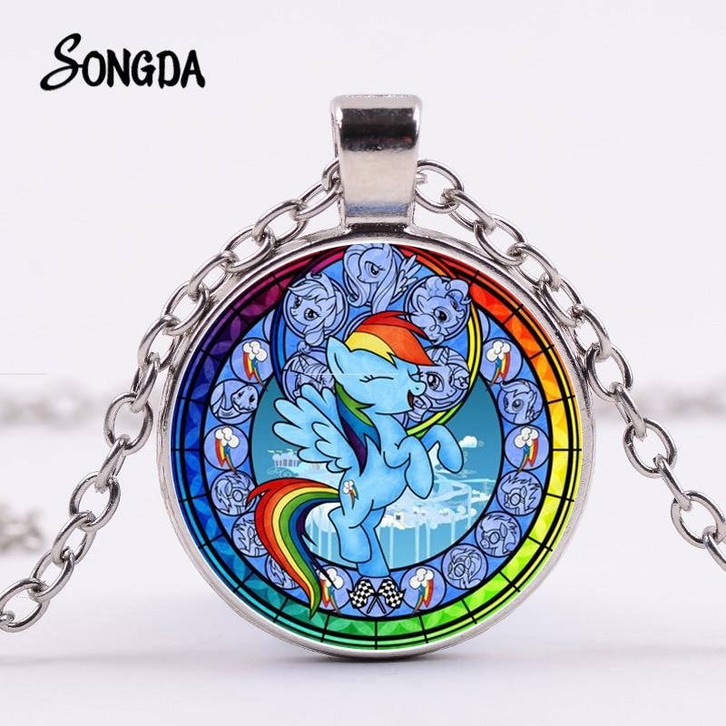My Little Horse Baoli Poni Necklace Lovely Magic Rainbow Horse Cartoon Glass Round Pendant Children Birthday Gift Jewelry