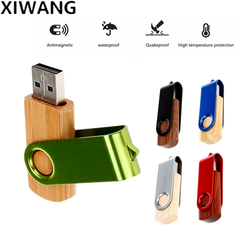 Image 3 - new Wooden Rotary USB Flash Drive 128gb usb Memory Stick Pendrive 4GB 8GB pen drive 16GB 32GB 64GB Personal 2.0 Free Custom Logo-in USB Flash Drives from Computer & Office