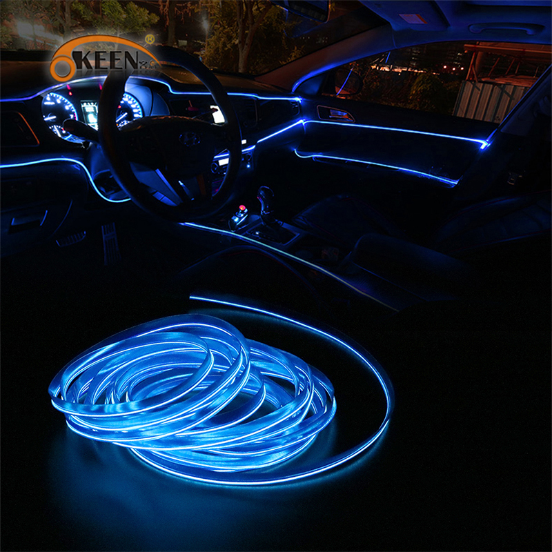 1m/2m/3m/5m Car LED Strips Auto Neon EL Wire Decoration Atmosphere Lamp Indoor Interior LED 12V Flexible Rope Car Light
