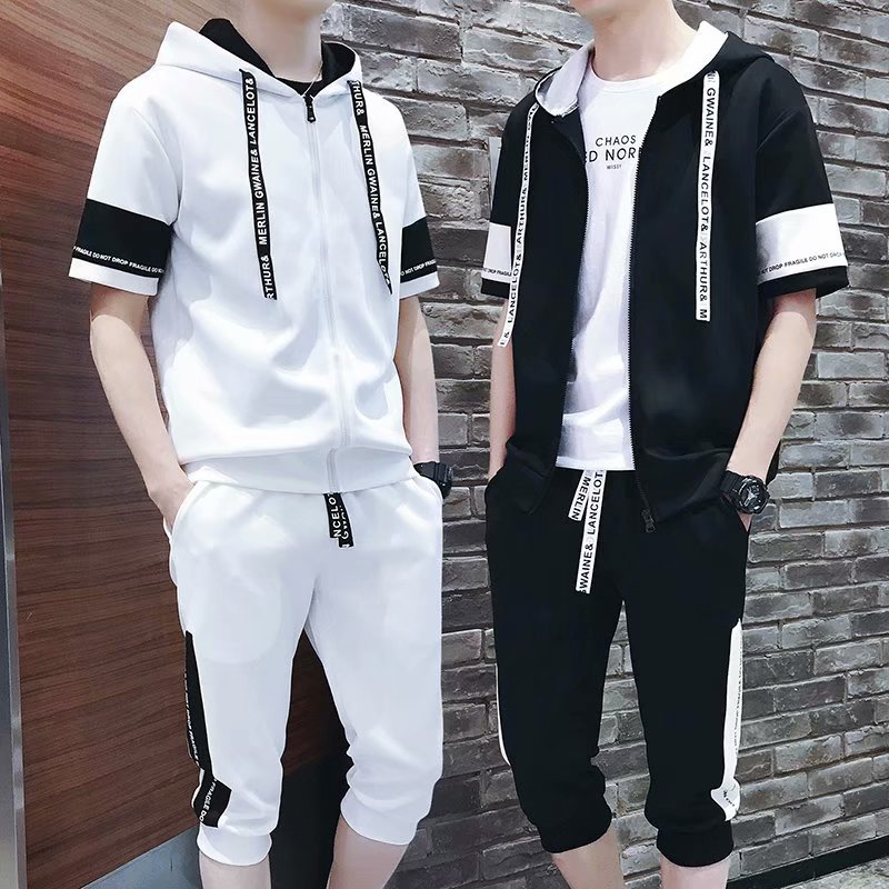 Short Sleeve T-shirt Suit Men Summer Hoodie Teenager Crew Neck Korean-style Trend Slim Fit Casual Capri Pants Two Pieces