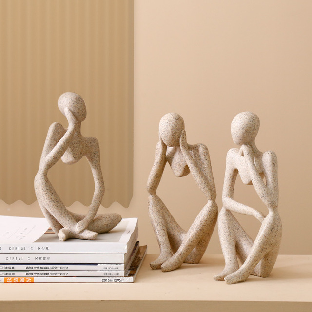 Abstract Resin Statue Yoga Thinkers Handmade Sculpture Decoration 1