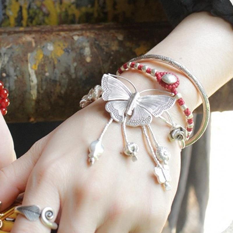 Thailand handgemaakte zilveren vlinder armband wind herstellen van oude manieren doen oude vrouwelijke Thai zilveren armband met natie - 2