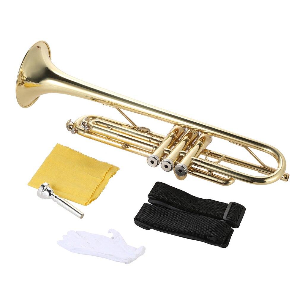 Ammoon Bb труба плоская латунь позолоченный Изысканный прочный музыкальный инструмент с мундштуком перчатки ремень Чехол - 6