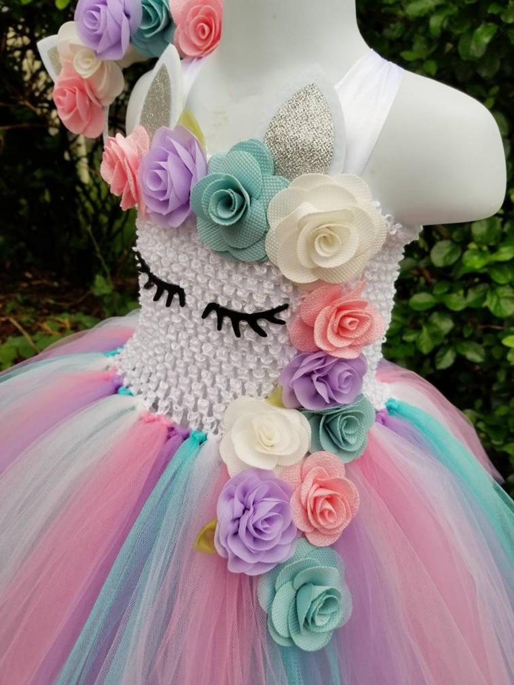 meninas crochê pastel tule vestido com hairbow